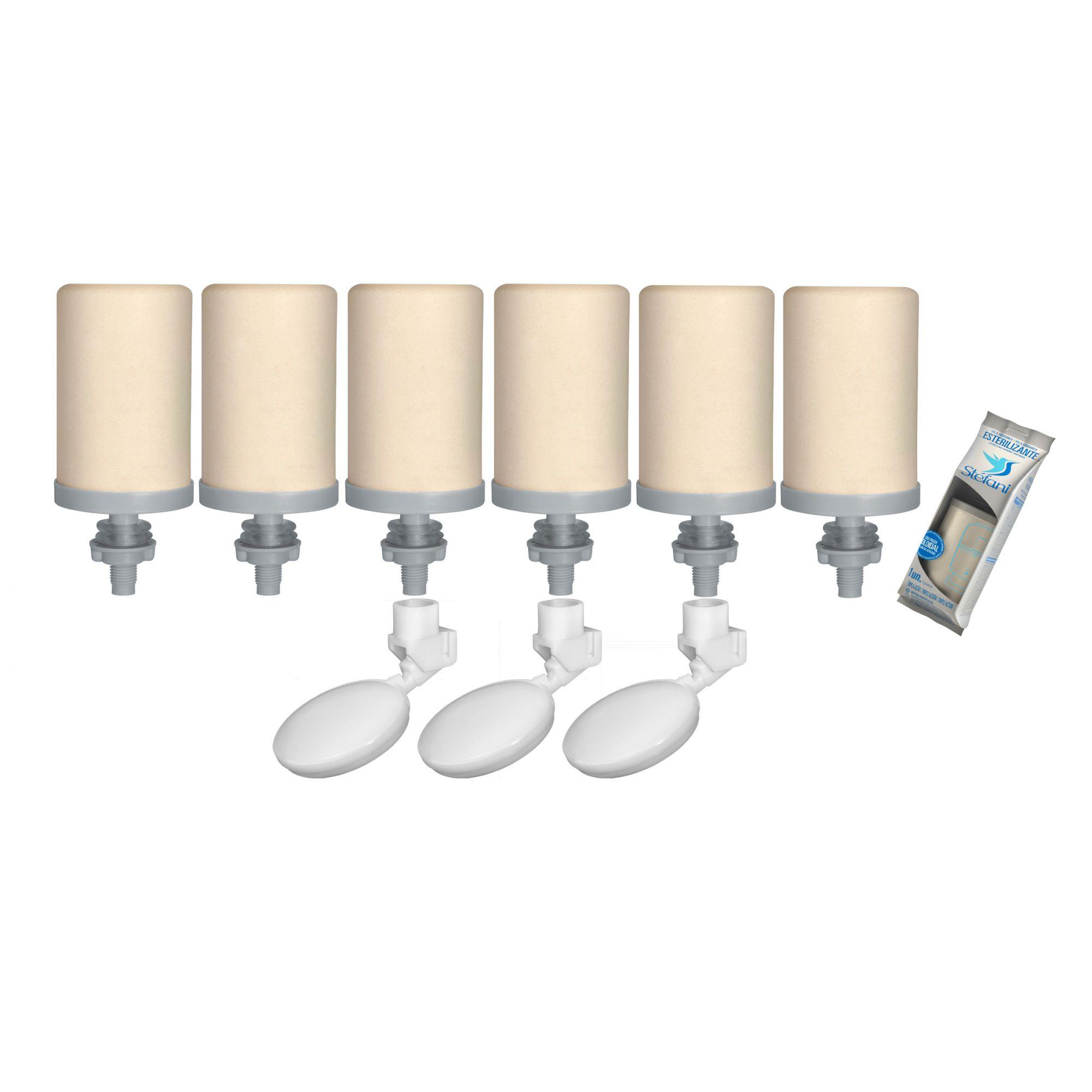 Vela para Filtro de Barro Stefani Tripla Ação 06 unidades e 03 Boias  - CN Distribuidora