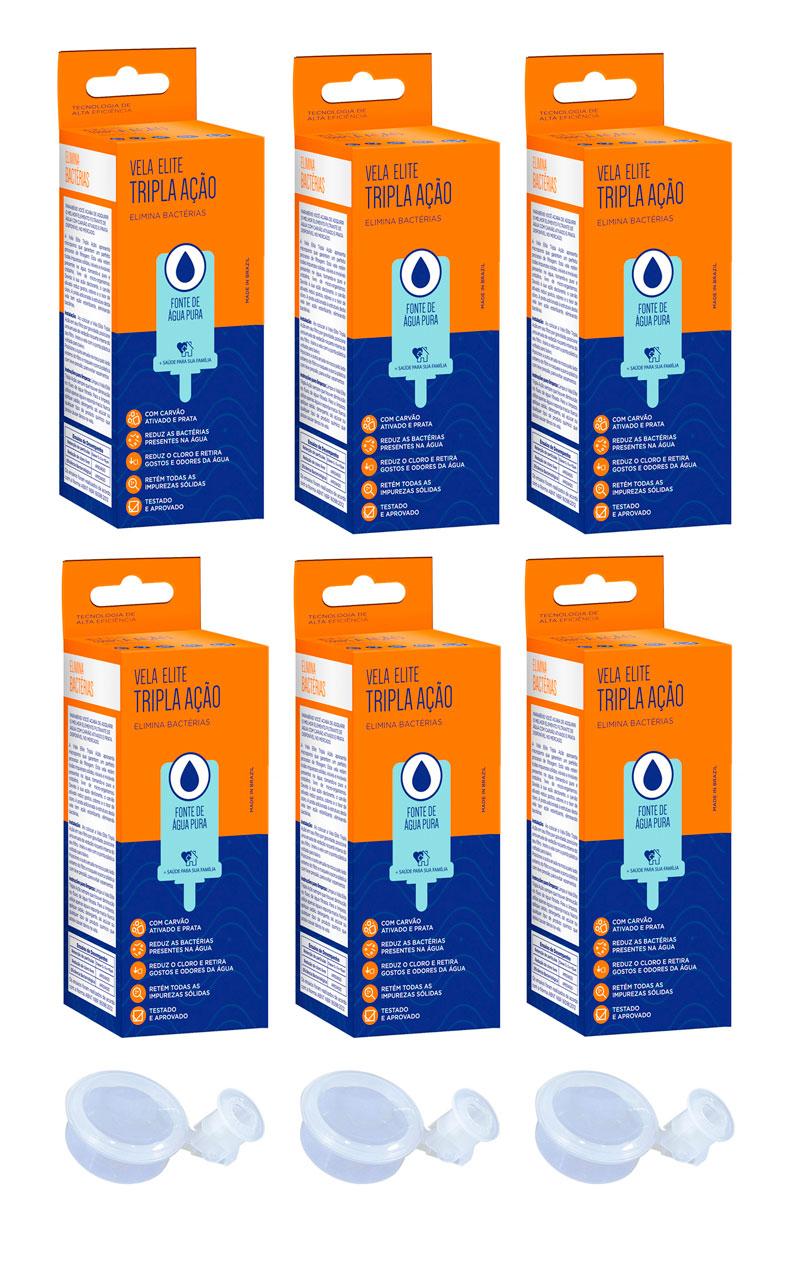 Vela para Filtro de Barro Tripla Ação Elite 06 unidades e 03 Boias Dosadoras  - CN Distribuidora