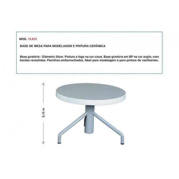 Base de Mesa para Modelagem e Pintura Cerâmica - 20cm