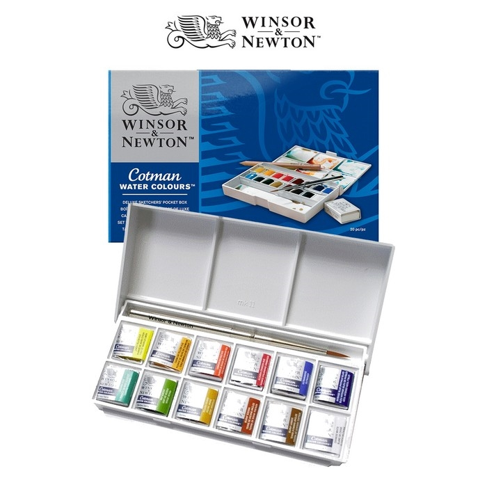 ESTOJO AQUARELA COTMAN 640 SKETCH 12 HALF PAN + PINCEL WINSOR & NEWTON
