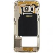 Carcaça Aro Lateral Samsung S6 Edge G925 Dourada c/ Lente Dourada