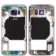 Carcaça Aro Lateral Samsung S6 Edge G925 Prata Lente Azul
