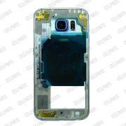 Carcaça Aro Lateral Samsung S6 G920 Prata c/ Lente Azul