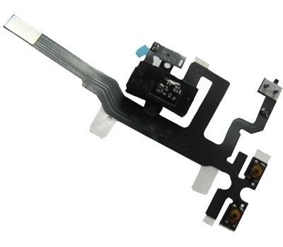 Cabo Flex iPhone 4S A1431 A1387 Botão Volume e Conector Fone P2 Preto