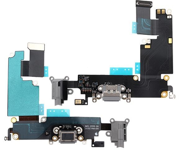 Cabo Flex Iphone 6 Plus A1522 A1524 A1593 Microfone / Fone P2 / Conector Carga Cinza