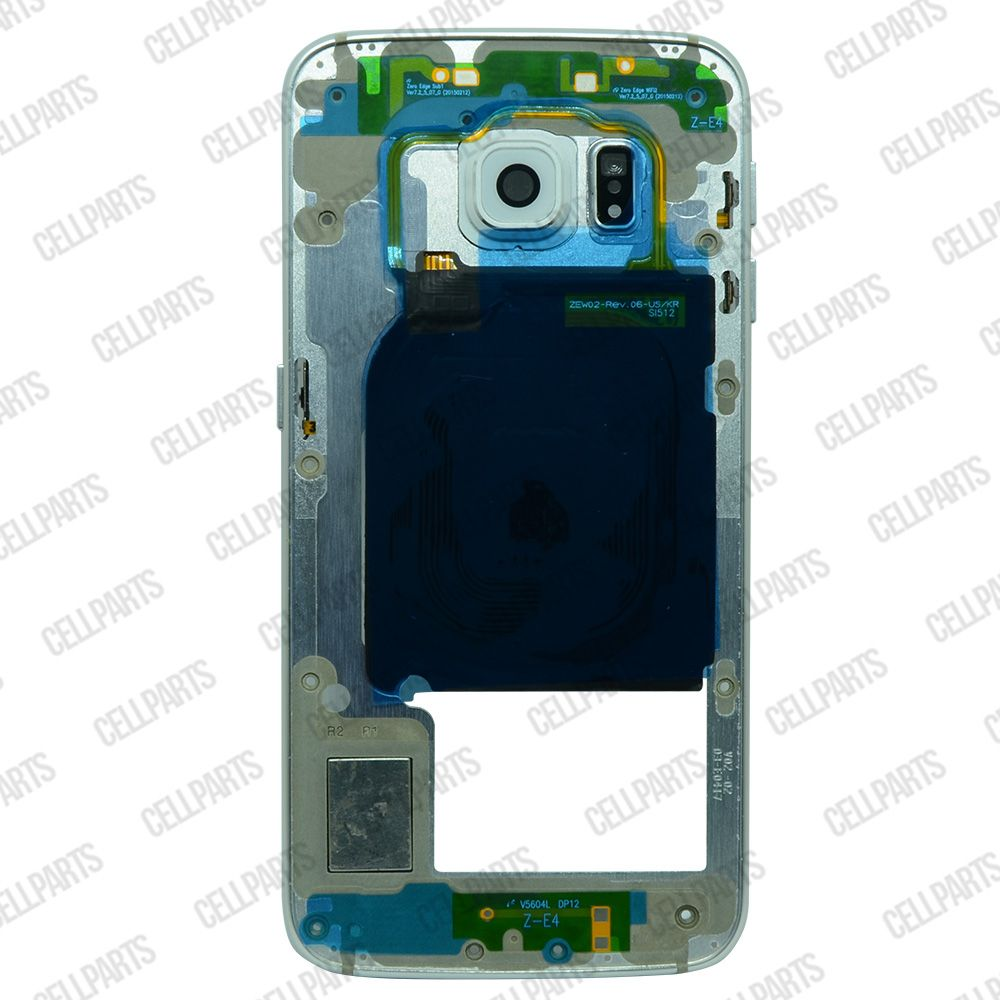 Carcaça Aro Lateral Samsung S6 Edge G925 Prata c/ Lente Branca