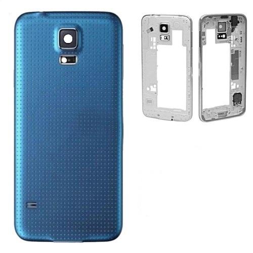 Carcaça Samsung G800 S5 Mini c/ Alto Falante, Vibracall Conector Fone P2 Azul