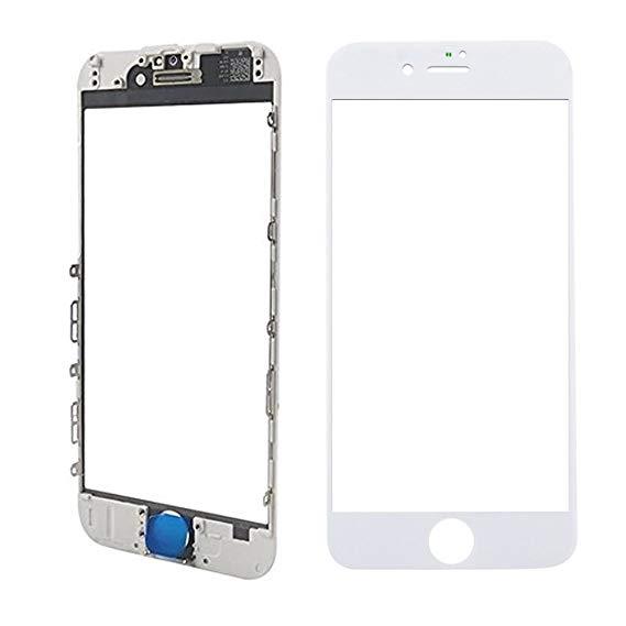 Tela Vidro Iphone 8 A1863 A1905 A1906 Branco c/ Frame