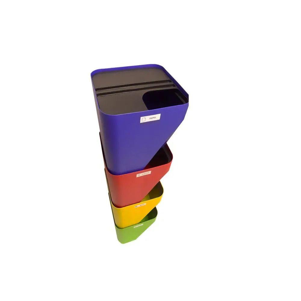 Conjunto 4 Lixeiras Reciclagem Coleta Seletiva Empilhável 25 litros  - WebPlástico