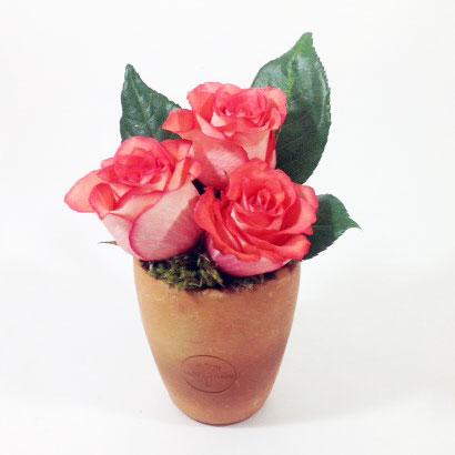 Vaso de ceramica com rosas