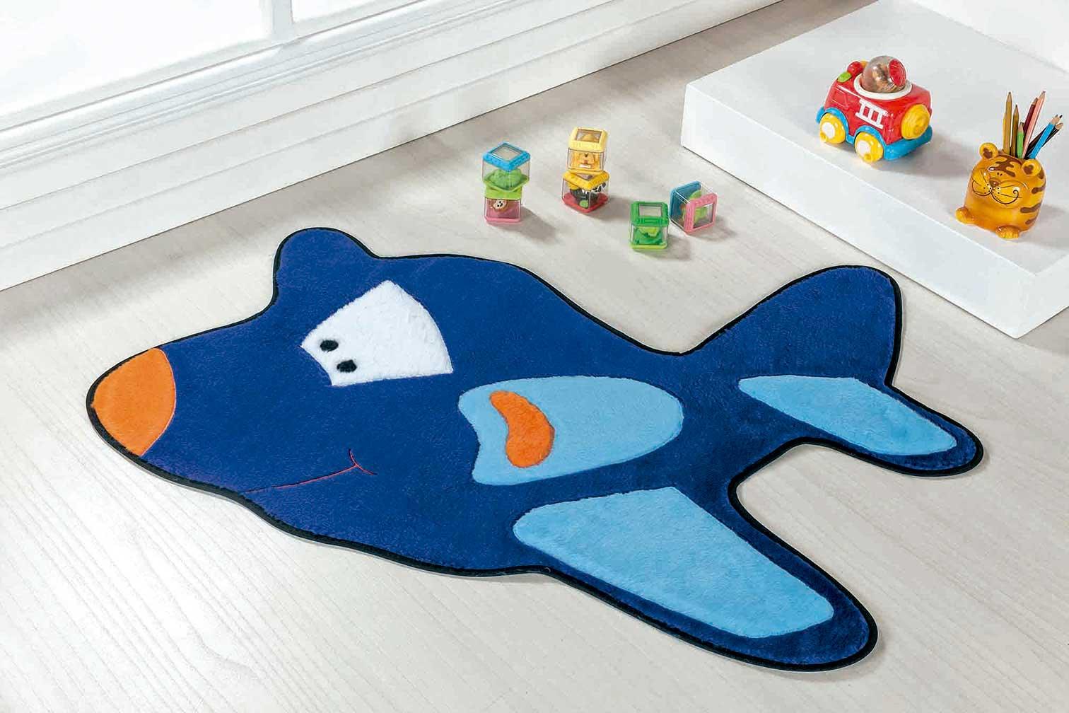 Tapete Infantil Avião Azul