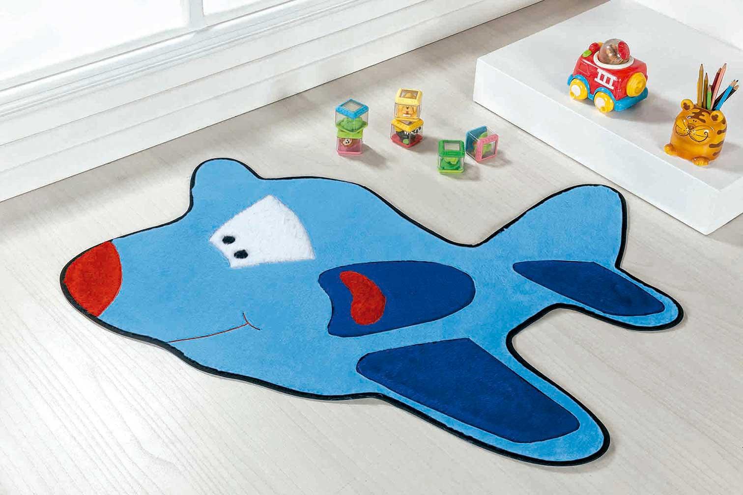Tapete Infantil Avião Azul Claro