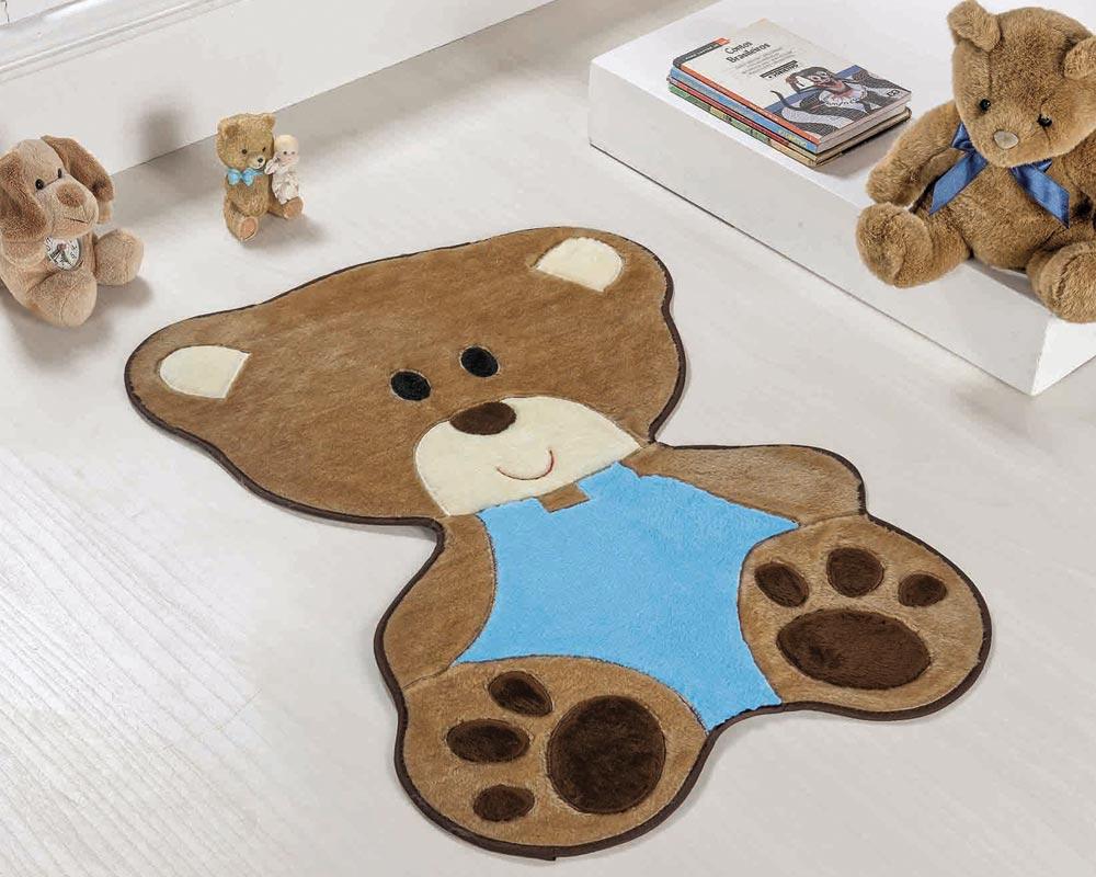 Tapete Infantil Formato Bebê Urso Turquesa Menino