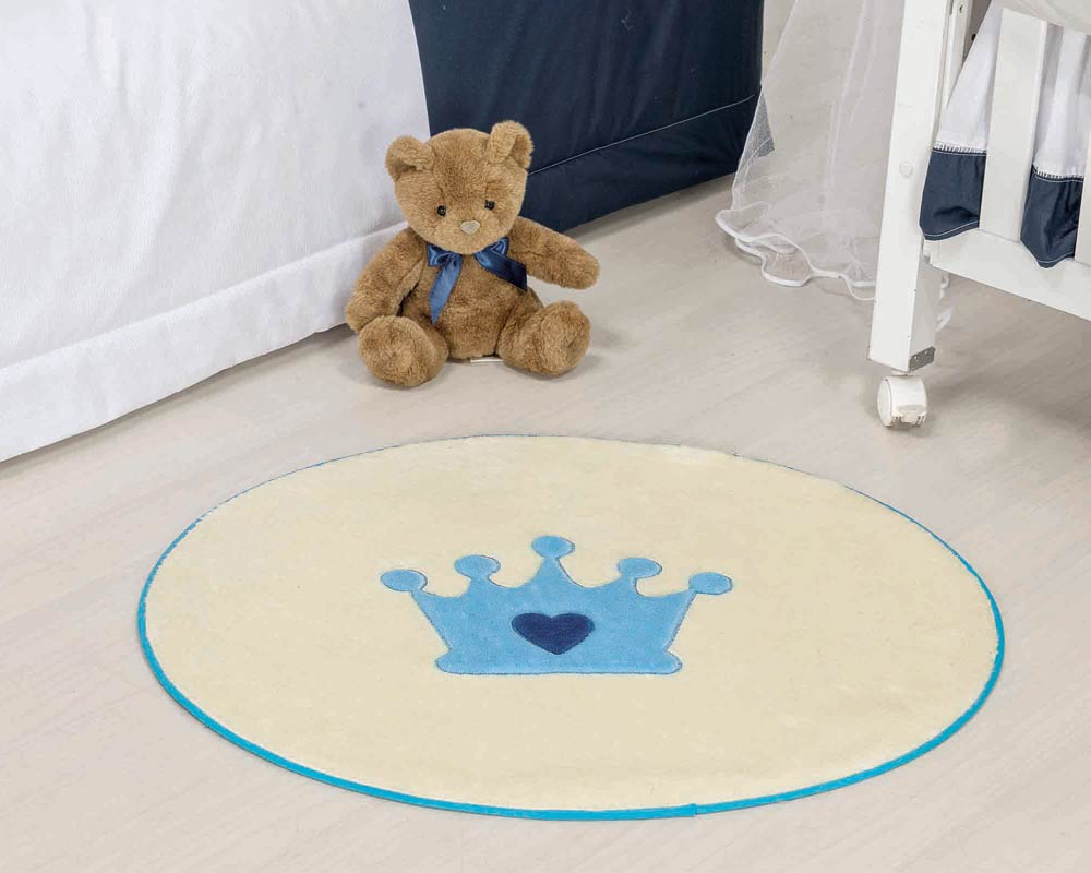 Tapete Infantil Formato Coroa Menino Azul