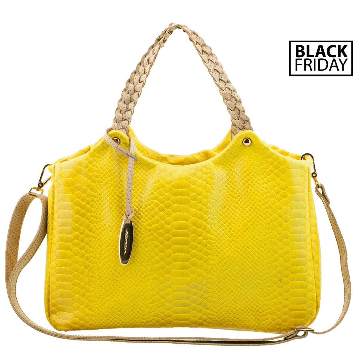 Bolsa com Alça Trançada Amarela