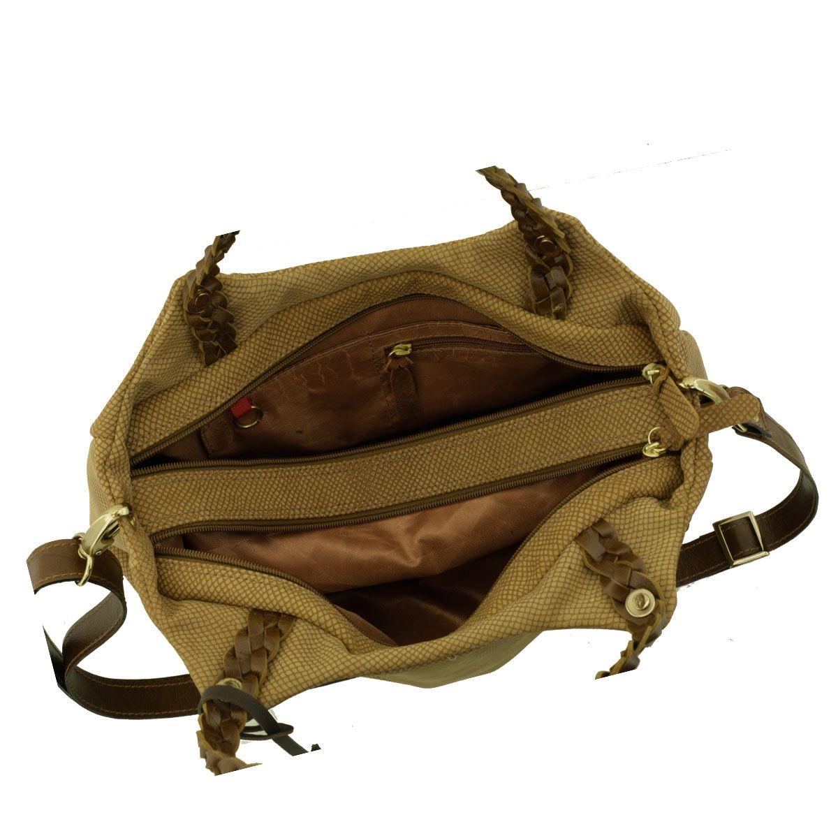 Bolsa com Alça Trançada Castanho