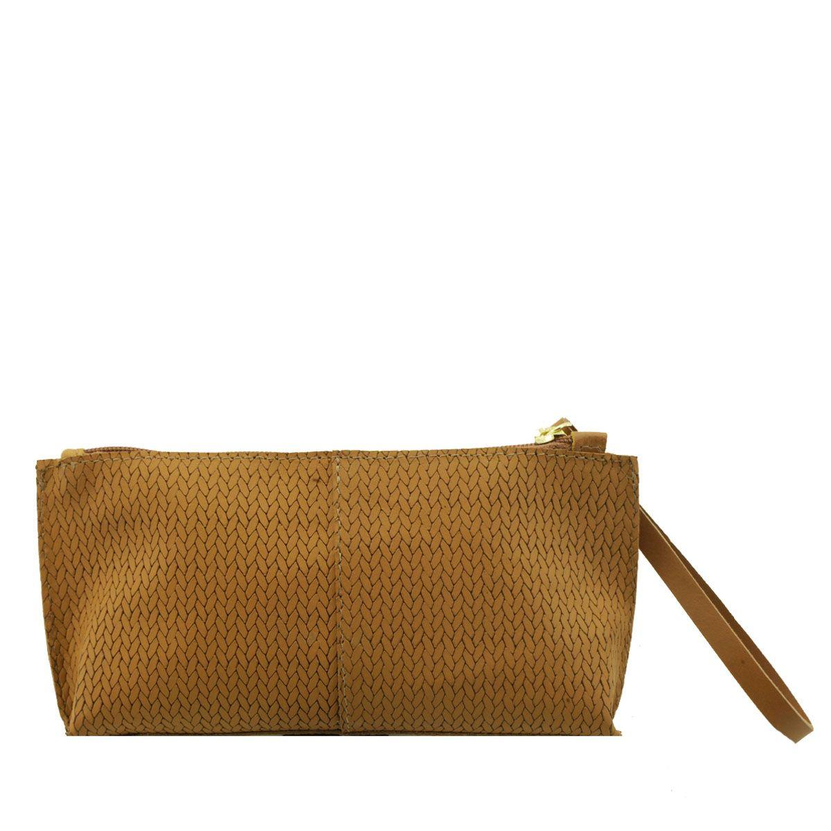 Bolsa de mão ou Necessaire com alça Camel