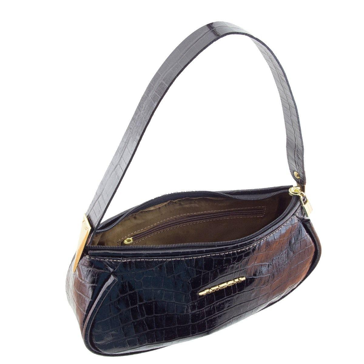 Bolsa De Ombro Masculina Couro : Bolsa tiracolo com pregas dourada