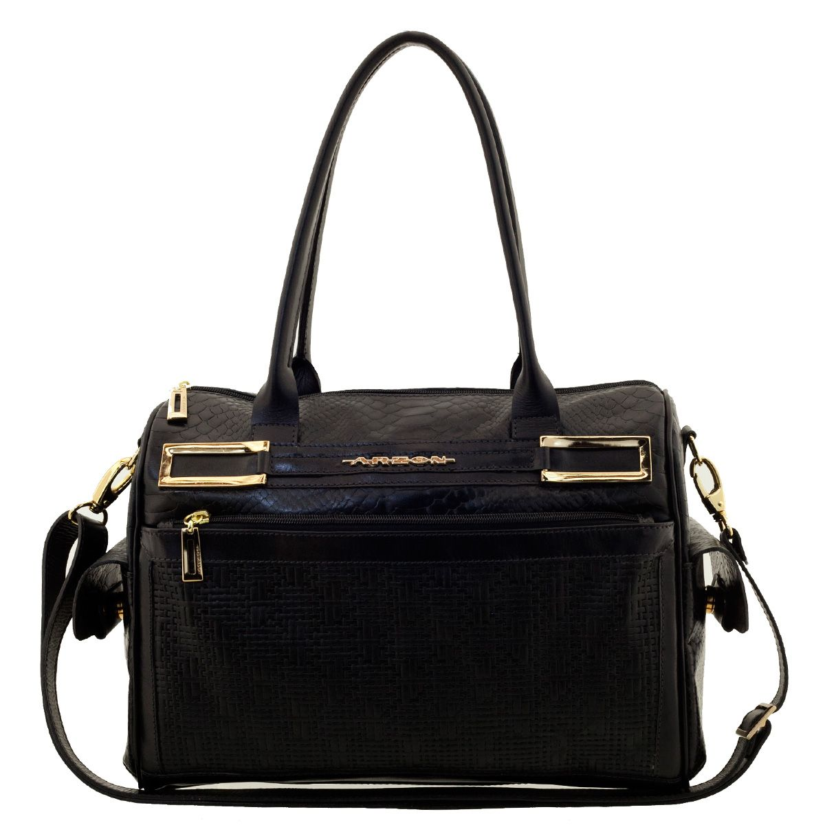 Bolsa em Couro com Bolso Black