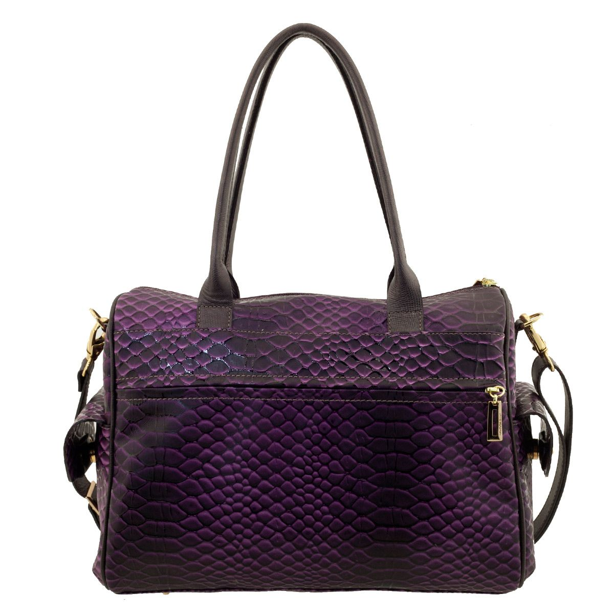Bolsa De Couro Wow : Bolsa em couro com bolso roxo