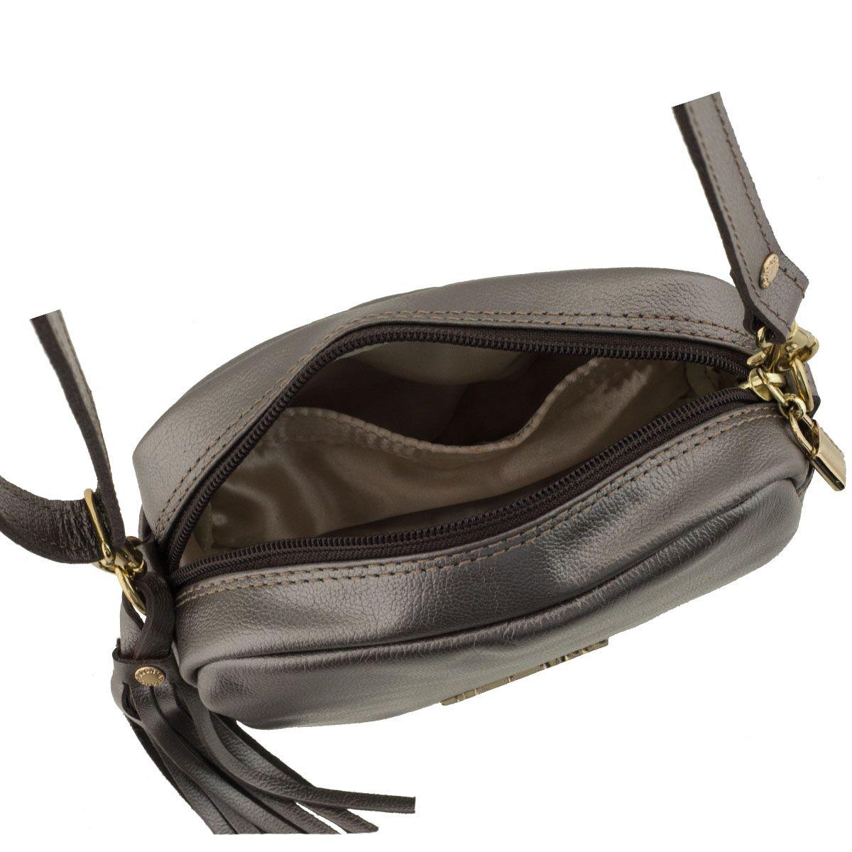 Bolsa De Couro Richards : Bolsa em couro tiracolo prata velho
