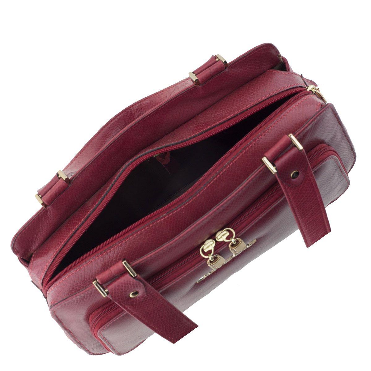 Bolsa Estruturada de Couro Vermelho Escuro