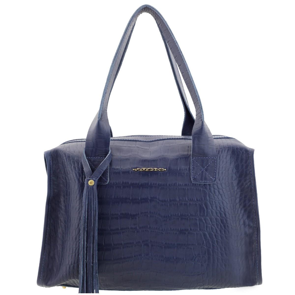 Bolsa Feminina Azul : Bolsa de couro legitimo black