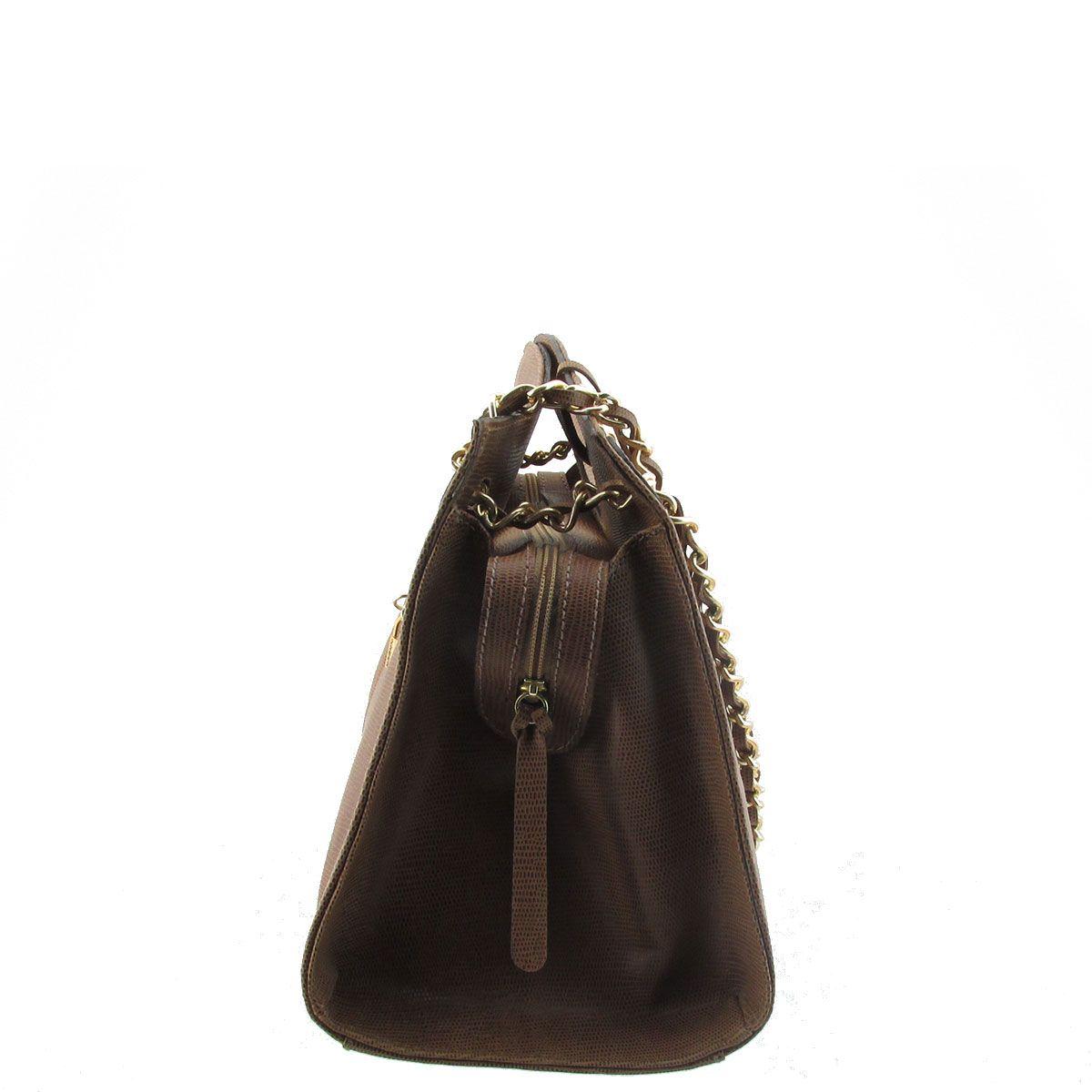 Bolsa Mão com Corrente Chocolate