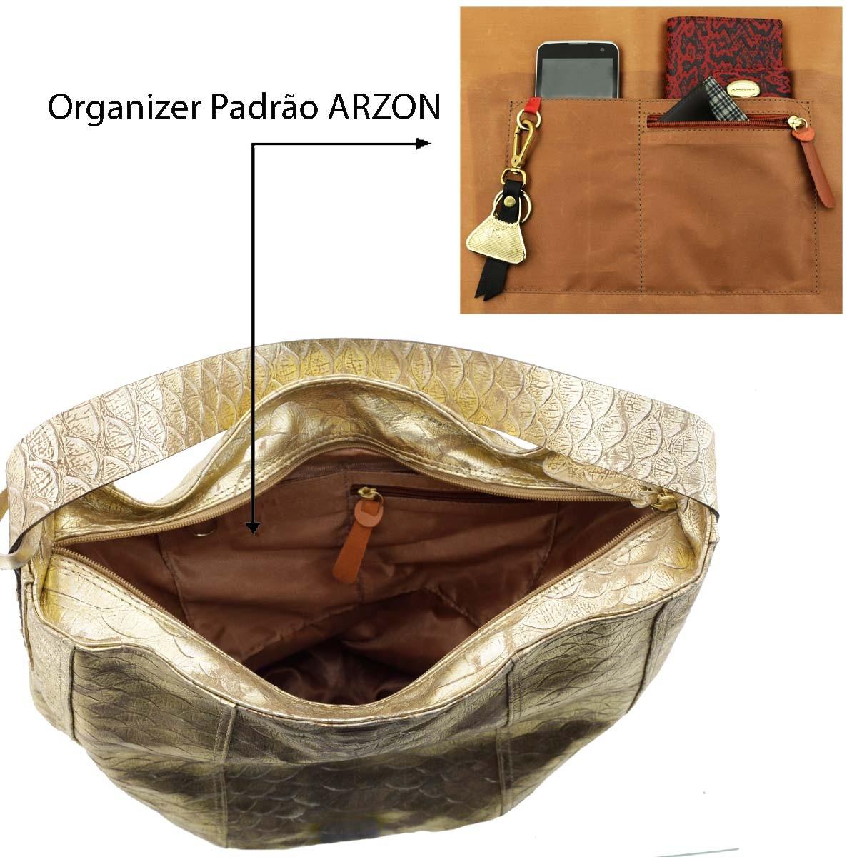 Bolsa Saco de Ombro Dourada