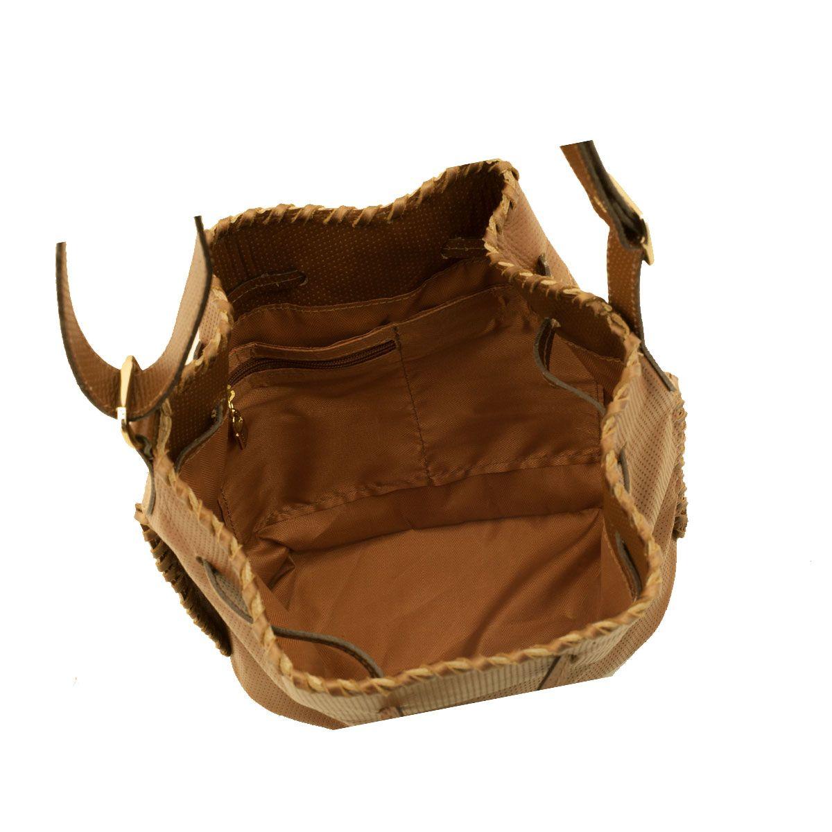 Bolsa Saco em Couro Chocolate