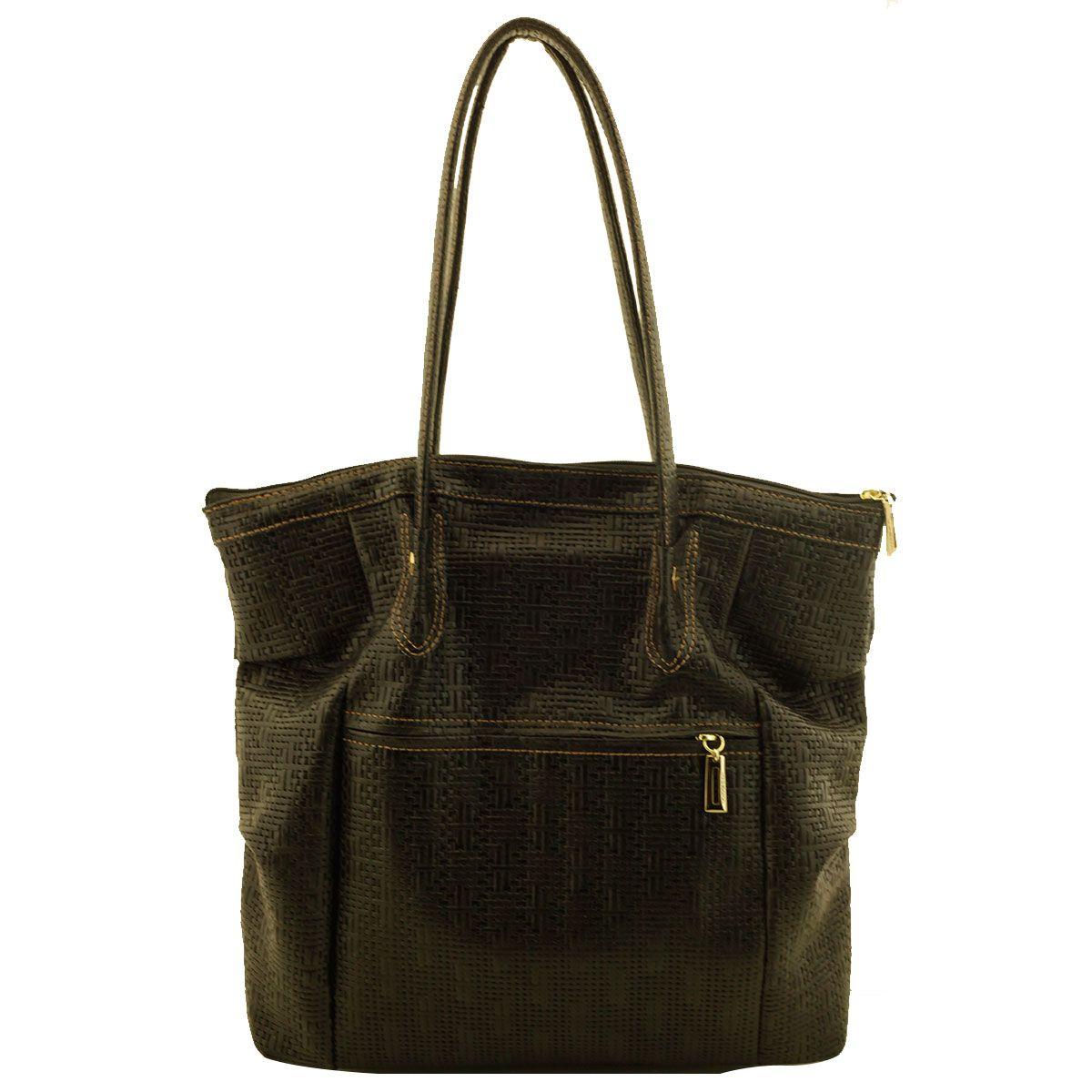 Bolsa Shopping Bag Couro Preta