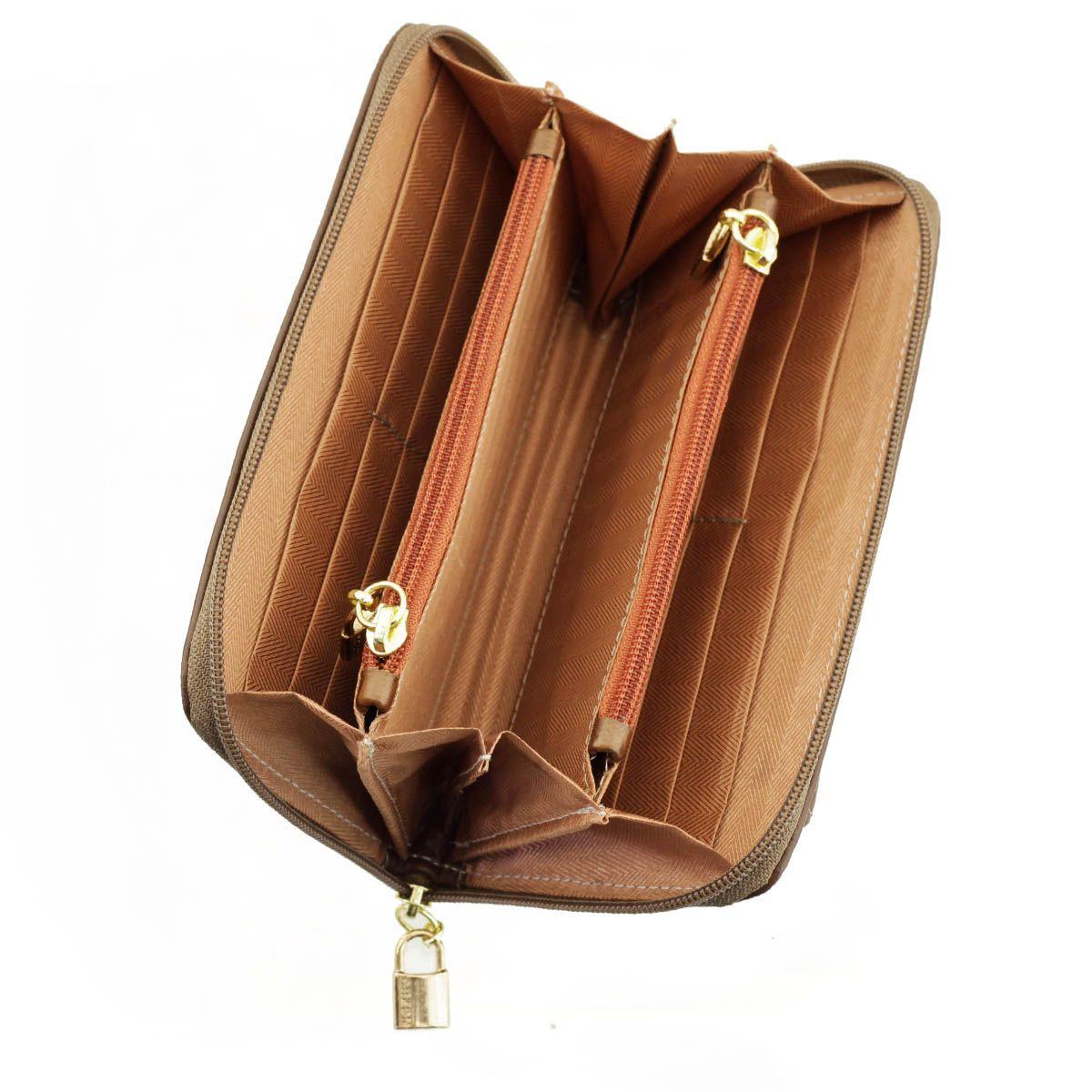 Carteira  em Couro com Bolsos Chocolate