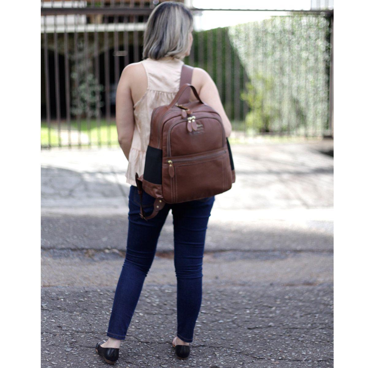 Mochila Couro Legítimo Notebook até 15.7