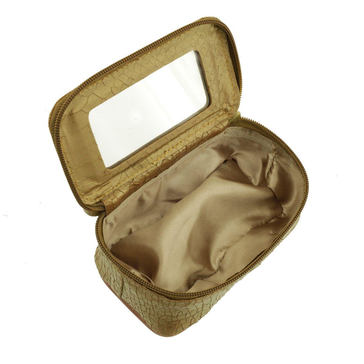 Necessaire com Espelho Ouro Velho