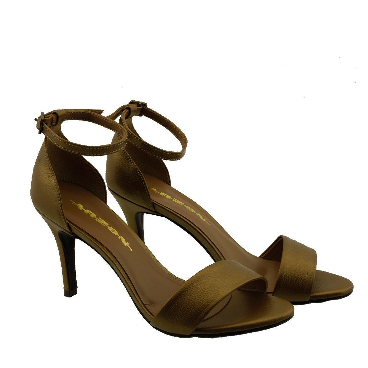Sandália com Salto Fino Bronze