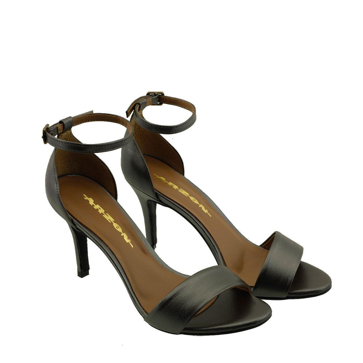 Sandália com Salto Fino Prata Velho