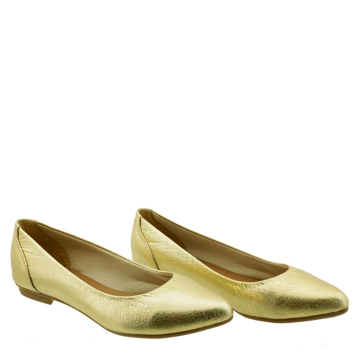 Sapatilha em Couro Metalizado Dourado