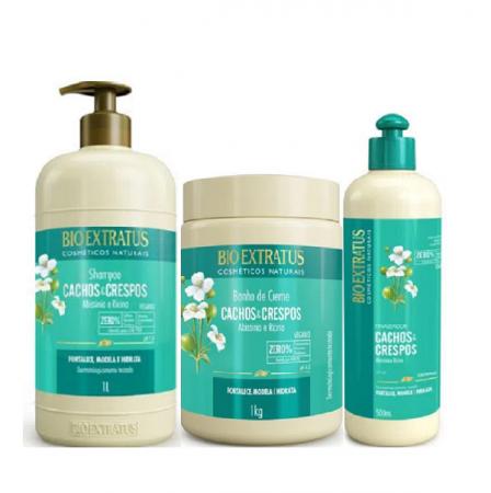 Bio Extratus Cachos e Crespos Shampoo 1L+Banho de Creme 1Kg+Finalizador 500ml