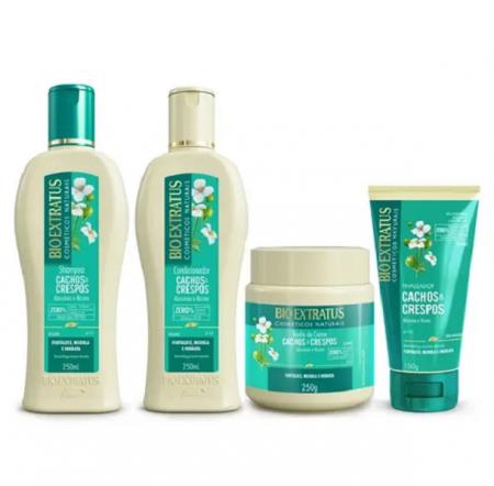 Bio Extratus Cachos E Crespos Shampoo+Condicionador+Banho de Creme 250ml+Finalizador 150ml