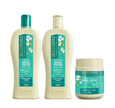 Bio Extratus Cachos E Crespos Shampoo+Condicionador+Banho de Creme 500ml