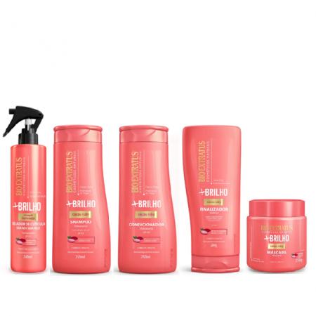 Bio Extratus Mais Brilho - Shampoo+Condicionador 250ml+Finalizador 200g+Mascara 250g+Selador 240ml