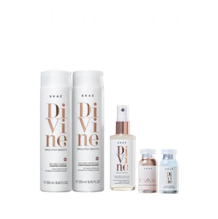 Brae Divine Shampoo+Condicionador 250ml+Queratina Liquida 60ml+Ampola Divine e Revival 13ml