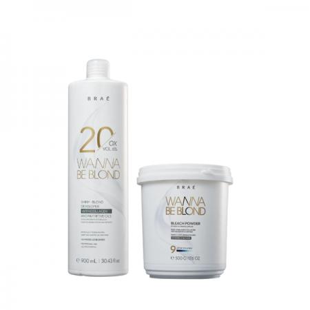 BRAÉ Wanna Be Blond 6% - Água Oxigenada 20 Volumes 900ml+Pó Descolorante 500g