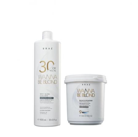 BRAÉ Wanna Be Blond 9% - Água Oxigenada 30 Volumes 900ml+Pó Descolorante 500g