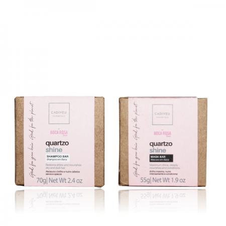 Cadiveu Essentials Quartzo Shine By Boca Rosa Hair - Shampoo em Barra 70g +Mask Bar 55g
