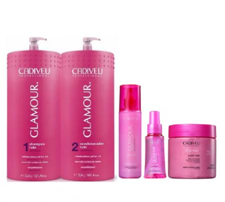 Cadiveu Glamour Rubi Shampoo+Condicionador 3L+Fluido Preciso 200ml+Cristal Liquido 65ml+Glossy Mask 500g