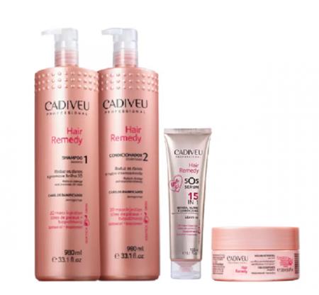 Cadiveu Professional Hair Remedy Shampoo+Condicionador 980ml+Mascara 200ml+SOS Leave-in 150ml