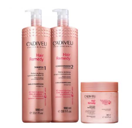 Cadiveu Professional Hair Remedy Shampoo+Condicionador 980ml+Mascara 500g