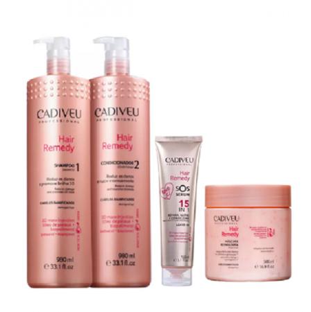 Cadiveu Professional Hair Remedy Shampoo+Condicionador 980ml+Mascara 500g+SOS Leave-in 150ml