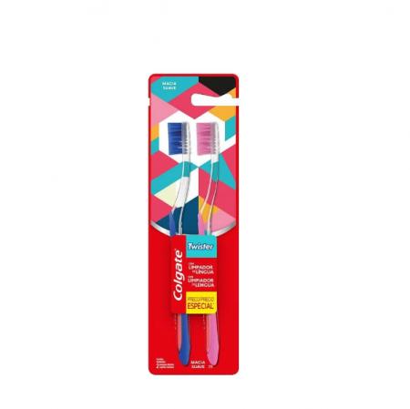 Colgate Escova Dental Twister Macia 2un Cores Variadas